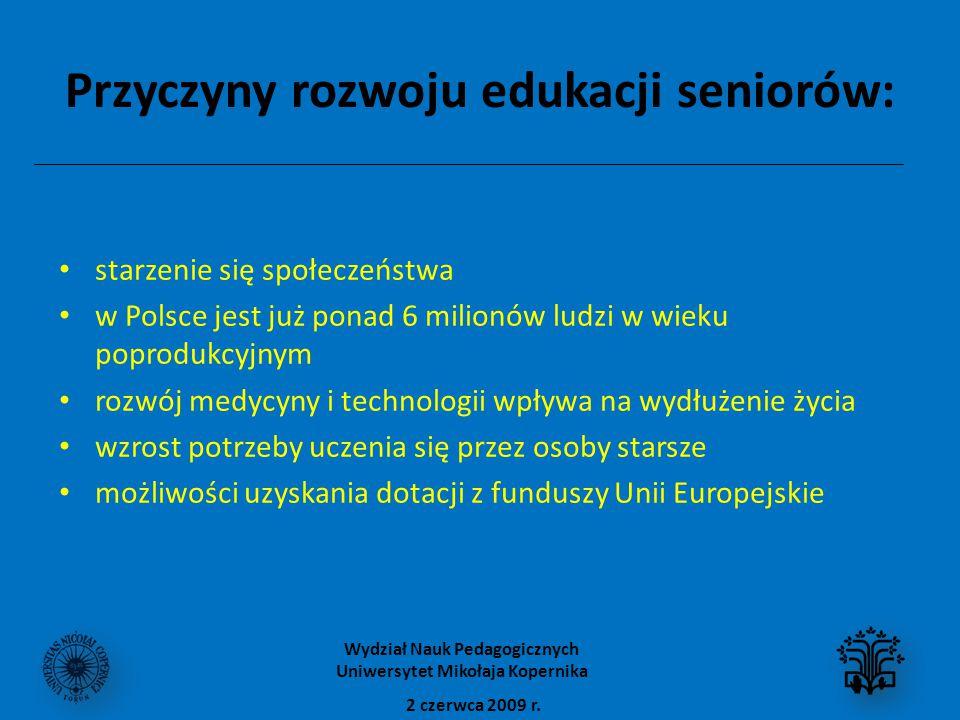 Przyczyny rozwoju edukacji seniorów: starzenie się społeczeństwa w Polsce jest już ponad 6 milionów ludzi w wieku poprodukcyjnym rozwój medycyny i technologii wpływa na wydłużenie życia wzrost potrzeby uczenia się przez osoby starsze możliwości uzyskania dotacji z funduszy Unii Europejskie 2 czerwca 2009 r.