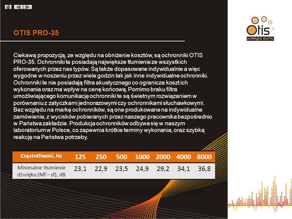 OTIS PRO-35 Ciekawą propozycją, ze względu na obniżenie kosztów, są ochronniki OTIS PRO-35. Ochronniki te posiadają największe tłumienie ze wszystkich