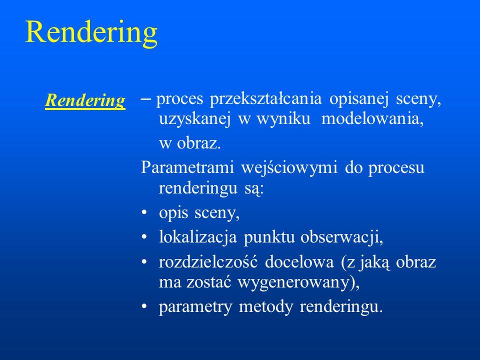 Rendering – proces przekształcania opisanej sceny, uzyskanej w wyniku modelowania, w obraz. Parametrami wejściowymi do procesu renderingu są: opis sce