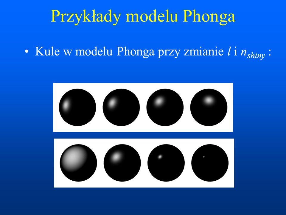 Przykłady modelu Phonga Kule w modelu Phonga przy zmianie l i n shiny :