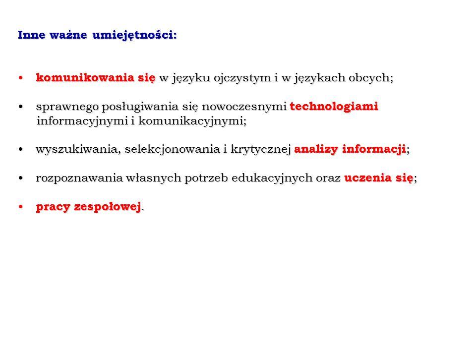 Inne ważne umiejętności: komunikowania się w języku ojczystym i w językach obcych; komunikowania się w języku ojczystym i w językach obcych; sprawnego