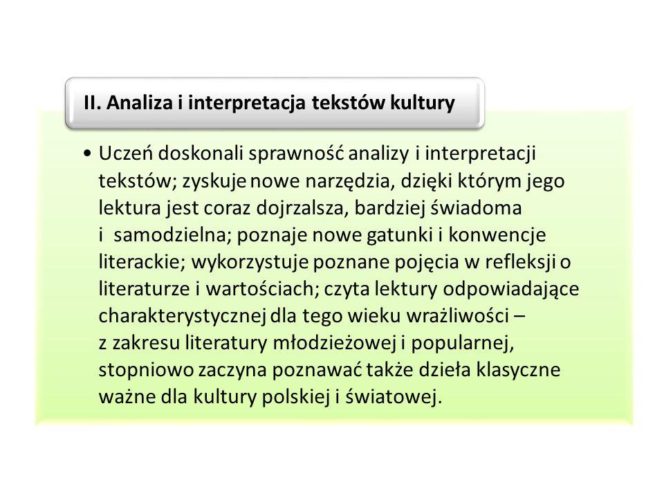 Uczeń doskonali sprawność analizy i interpretacji tekstów; zyskuje nowe narzędzia, dzięki którym jego lektura jest coraz dojrzalsza, bardziej świadoma