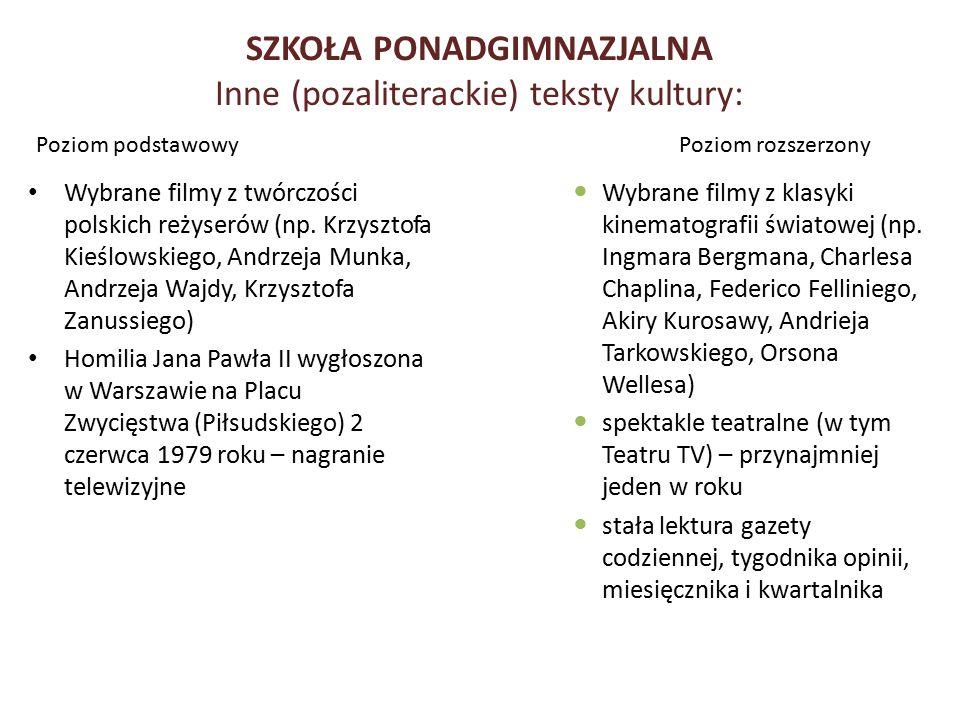 SZKOŁA PONADGIMNAZJALNA Inne (pozaliterackie) teksty kultury: Poziom podstawowy Wybrane filmy z twórczości polskich reżyserów (np. Krzysztofa Kieślows