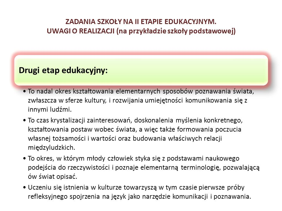 ZADANIA SZKOŁY NA II ETAPIE EDUKACYJNYM. UWAGI O REALIZACJI (na przykładzie szkoły podstawowej) Drugi etap edukacyjny: To nadal okres kształtowania el