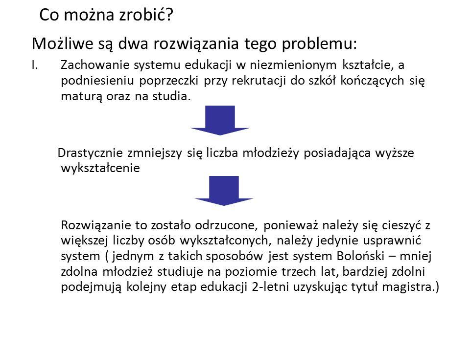 Co można zrobić? Możliwe są dwa rozwiązania tego problemu: I.Zachowanie systemu edukacji w niezmienionym kształcie, a podniesieniu poprzeczki przy rek