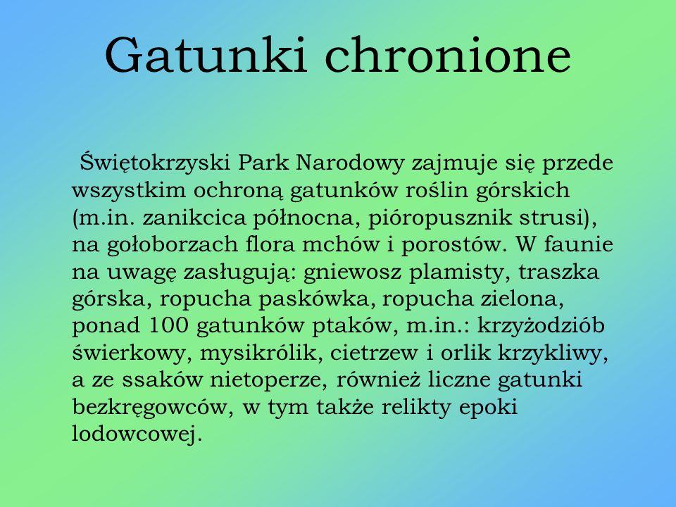 Cel utworzenia Parku Cele utworzenia Świętokrzyskiego Parku Narodowego to: 1) poznanie i zachowanie całości systemów przyrodniczych danego obszaru, ra