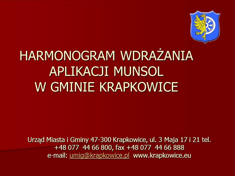 HARMONOGRAM WDRAŻANIA APLIKACJI MUNSOL W GMINIE KRAPKOWICE Urząd Miasta i Gminy 47-300 Krapkowice, ul. 3 Maja 17 i 21 tel. +48 077 44 66 800, fax +48