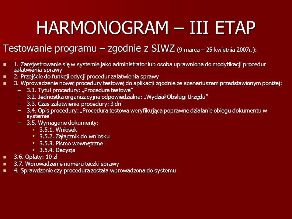 HARMONOGRAM – III ETAP Testowanie programu – zgodnie z SIWZ (9 marca – 25 kwietnia 2007r.): 1. Zarejestrowanie się w systemie jako administrator lub o