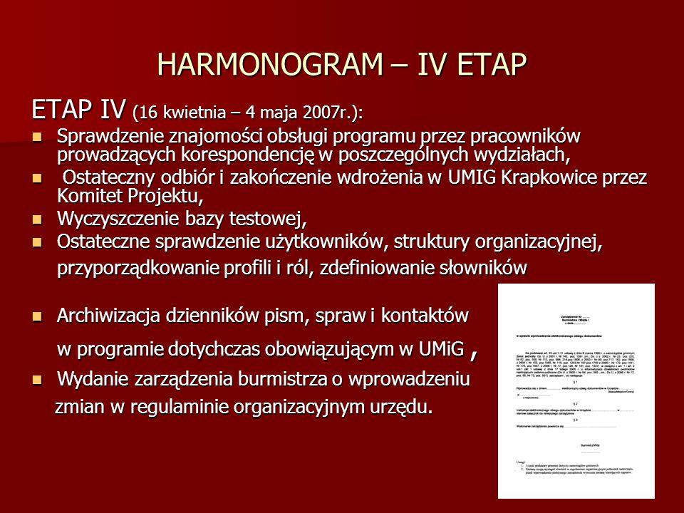 HARMONOGRAM – IV ETAP ETAP IV (16 kwietnia – 4 maja 2007r.): Sprawdzenie znajomości obsługi programu przez pracowników prowadzących korespondencję w p