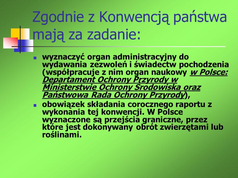 Zgodnie z Konwencją państwa mają za zadanie: wyznaczyć organ administracyjny do wydawania zezwoleń i świadectw pochodzenia (współpracuje z nim organ n
