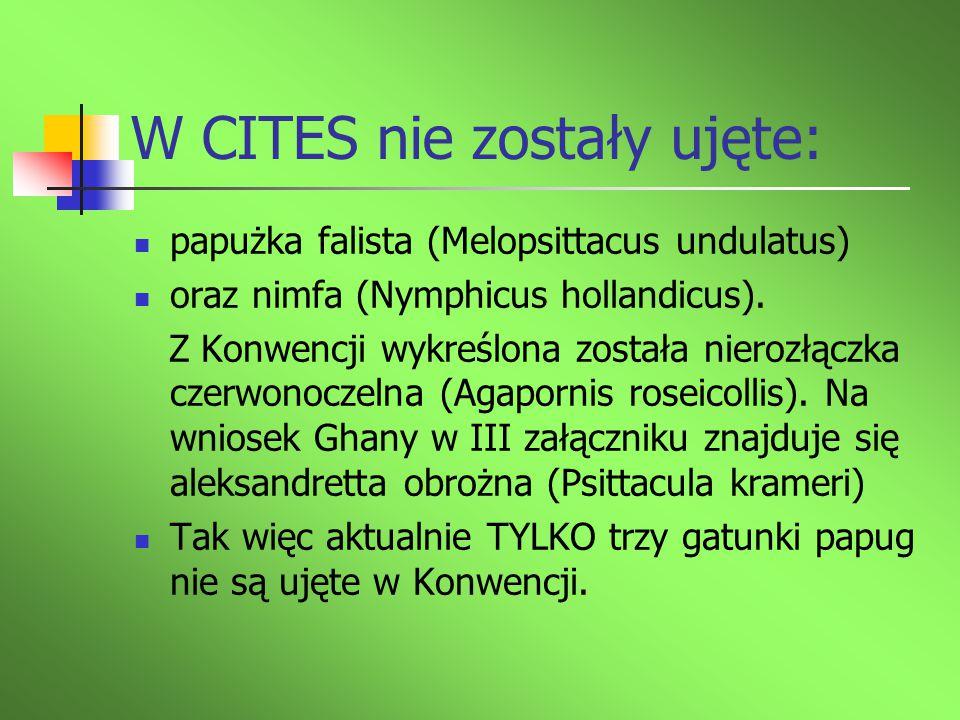 W CITES nie zostały ujęte: papużka falista (Melopsittacus undulatus) oraz nimfa (Nymphicus hollandicus). Z Konwencji wykreślona została nierozłączka c