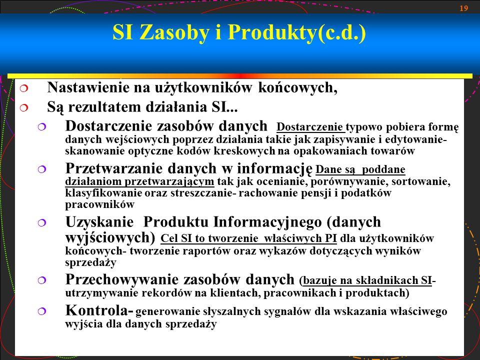 19 SI Zasoby i Produkty(c.d.)  Nastawienie na użytkowników końcowych,  Są rezultatem działania SI...  Dostarczenie zasobów danych Dostarczenie typo