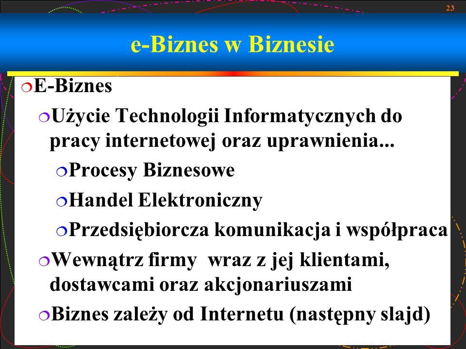 23 e-Biznes w Biznesie  E-Biznes  Użycie Technologii Informatycznych do pracy internetowej oraz uprawnienia...  Procesy Biznesowe  Handel Elektron
