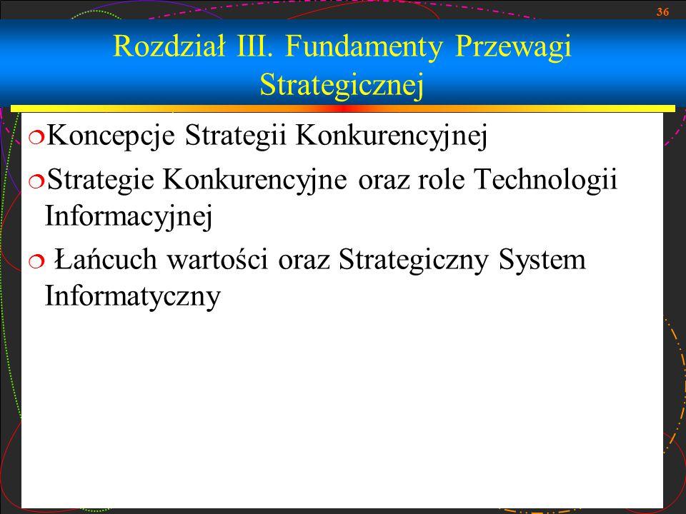 36 Rozdział III. Fundamenty Przewagi Strategicznej  Koncepcje Strategii Konkurencyjnej  Strategie Konkurencyjne oraz role Technologii Informacyjnej