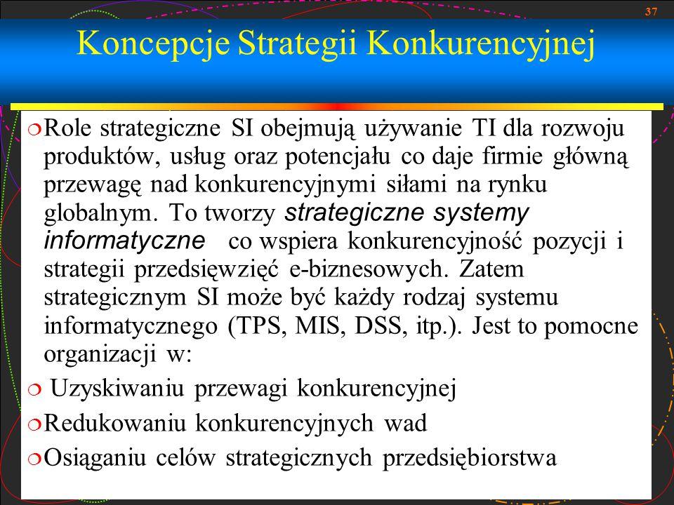 37 Koncepcje Strategii Konkurencyjnej  Role strategiczne SI obejmują używanie TI dla rozwoju produktów, usług oraz potencjału co daje firmie główną p