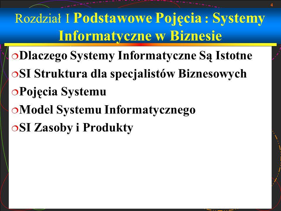 4 Rozdział I Podstawowe Pojęcia : Systemy Informatyczne w Biznesie  Dlaczego Systemy Informatyczne Są Istotne  SI Struktura dla specjalistów Bizneso