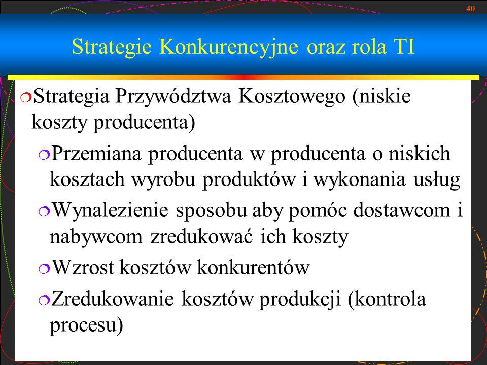 40 Strategie Konkurencyjne oraz rola TI  Strategia Przywództwa Kosztowego (niskie koszty producenta)  Przemiana producenta w producenta o niskich ko