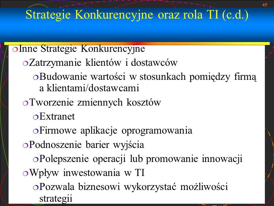 45 Strategie Konkurencyjne oraz rola TI (c.d.)  Inne Strategie Konkurencyjne  Zatrzymanie klientów i dostawców  Budowanie wartości w stosunkach pom
