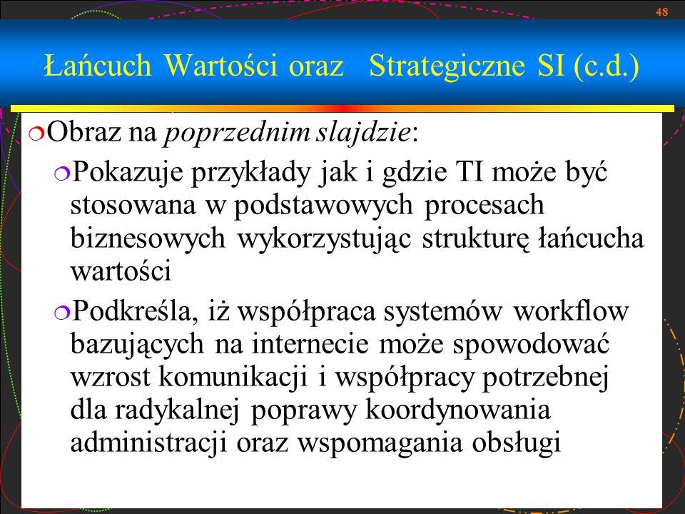 48 Łańcuch Wartości oraz Strategiczne SI (c.d.)  Obraz na poprzednim slajdzie:  Pokazuje przykłady jak i gdzie TI może być stosowana w podstawowych