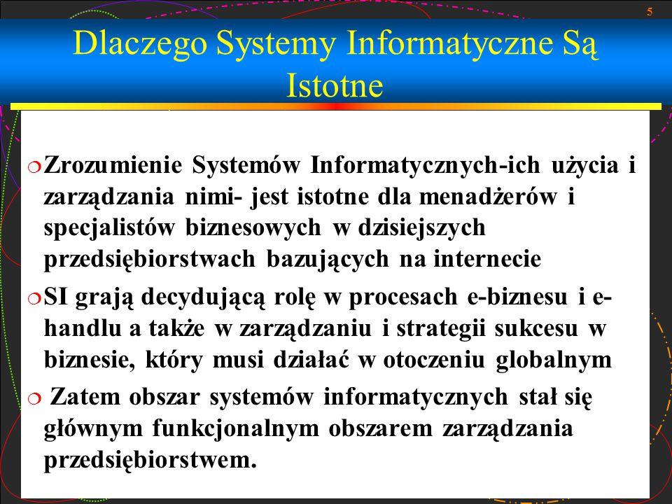 5 Dlaczego Systemy Informatyczne Są Istotne  Zrozumienie Systemów Informatycznych-ich użycia i zarządzania nimi- jest istotne dla menadżerów i specja