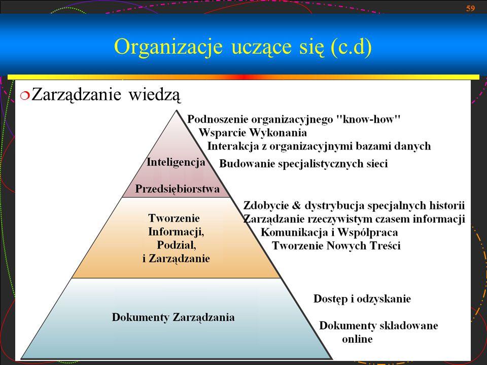 59 Organizacje uczące się (c.d)  Zarządzanie wiedzą