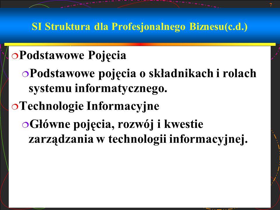 7 SI Struktura dla Profesjonalnego Biznesu(c.d.)  Podstawowe Pojęcia  Podstawowe pojęcia o składnikach i rolach systemu informatycznego.  Technolog