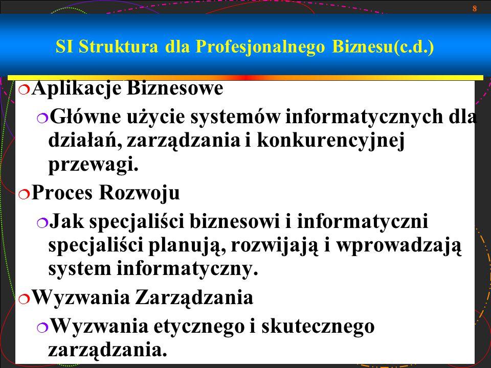 8 SI Struktura dla Profesjonalnego Biznesu(c.d.)  Aplikacje Biznesowe  Główne użycie systemów informatycznych dla działań, zarządzania i konkurencyj