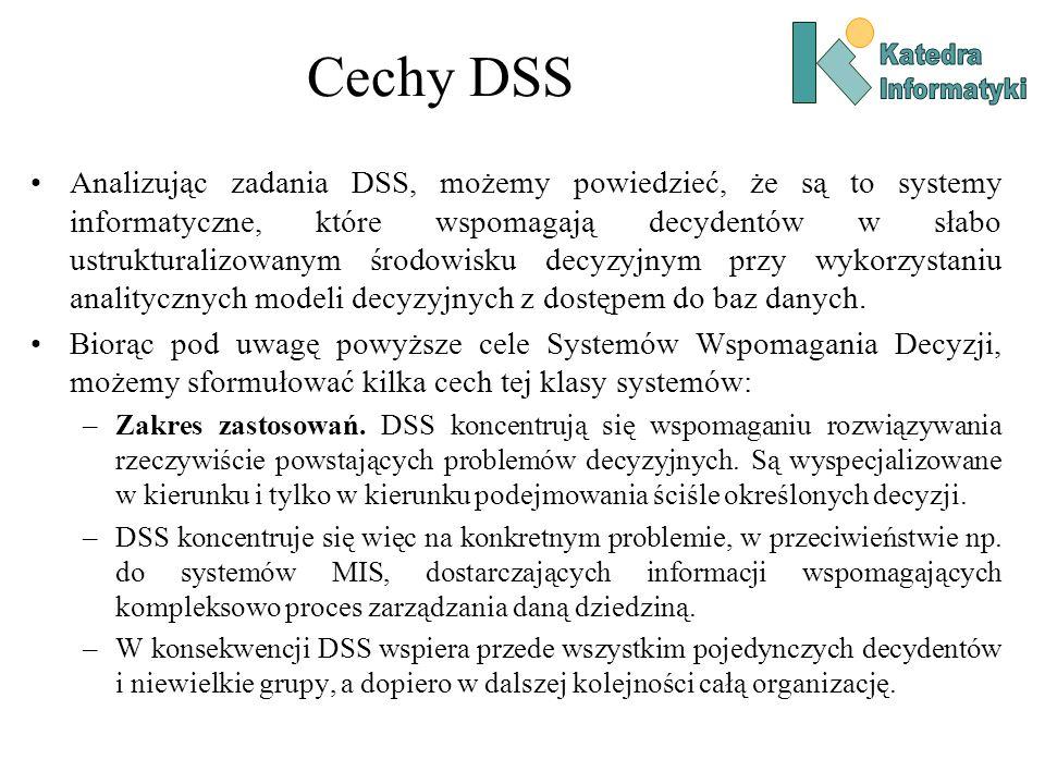 Analizując zadania DSS, możemy powiedzieć, że są to systemy informatyczne, które wspomagają decydentów w słabo ustrukturalizowanym środowisku decyzyjn