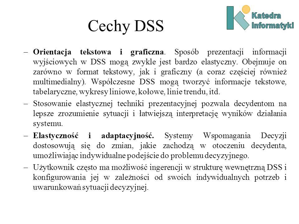 –Orientacja tekstowa i graficzna. Sposób prezentacji informacji wyjściowych w DSS mogą zwykle jest bardzo elastyczny. Obejmuje on zarówno w format tek