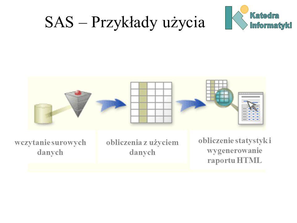 SAS – Przykłady użycia wczytanie surowych danych obliczenia z użyciem danych obliczenie statystyk i wygenerowanie raportu HTML