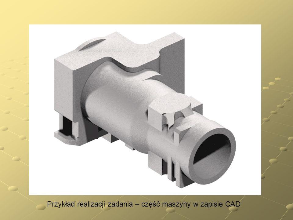 Przykład realizacji zadania – część maszyny w zapisie CAD