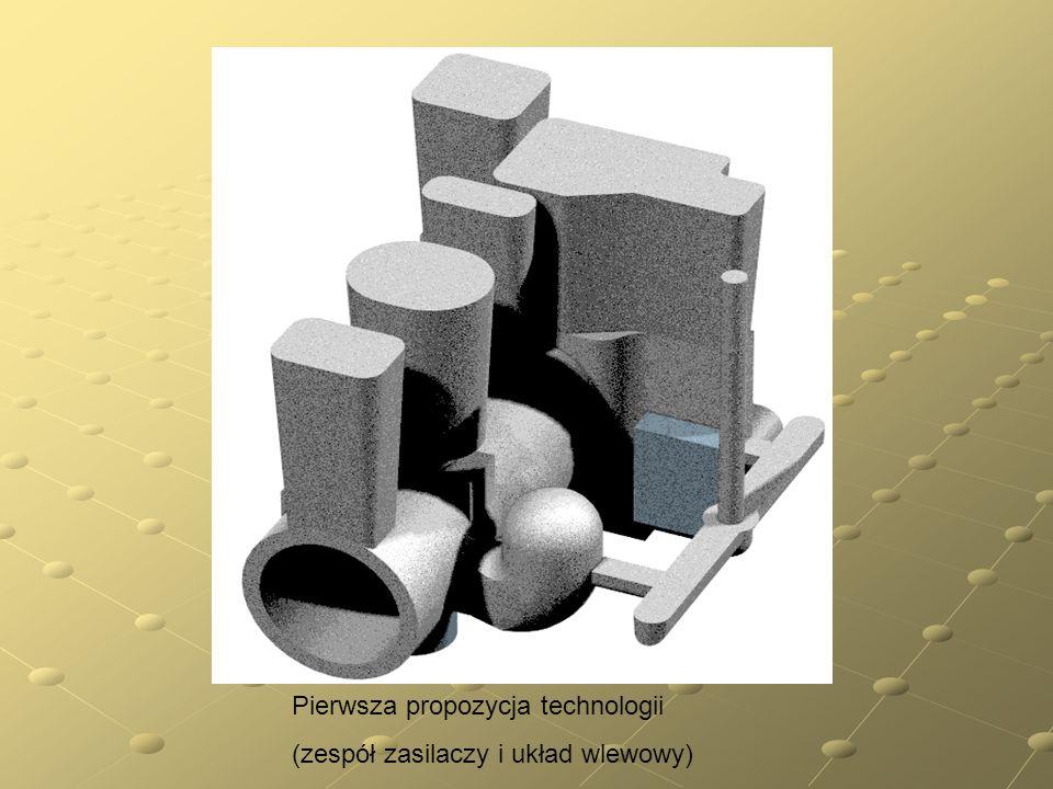 Pierwsza propozycja technologii (zespół zasilaczy i układ wlewowy)
