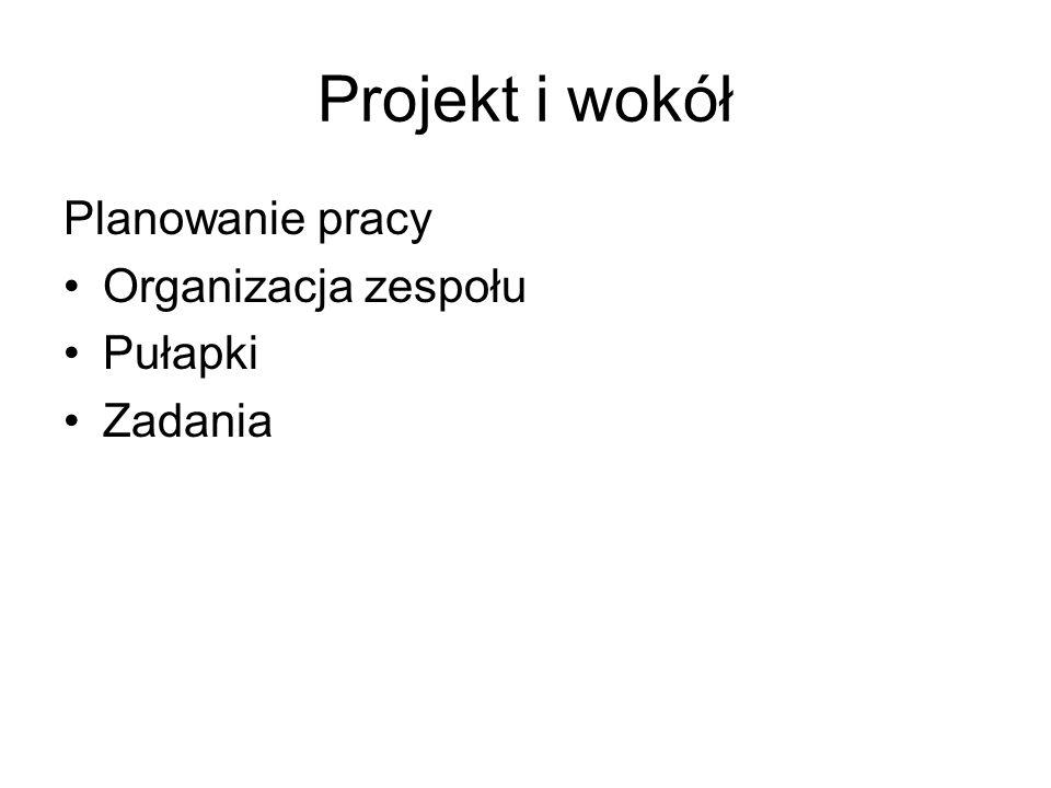 Projekt i wokół Planowanie pracy Organizacja zespołu Pułapki Zadania