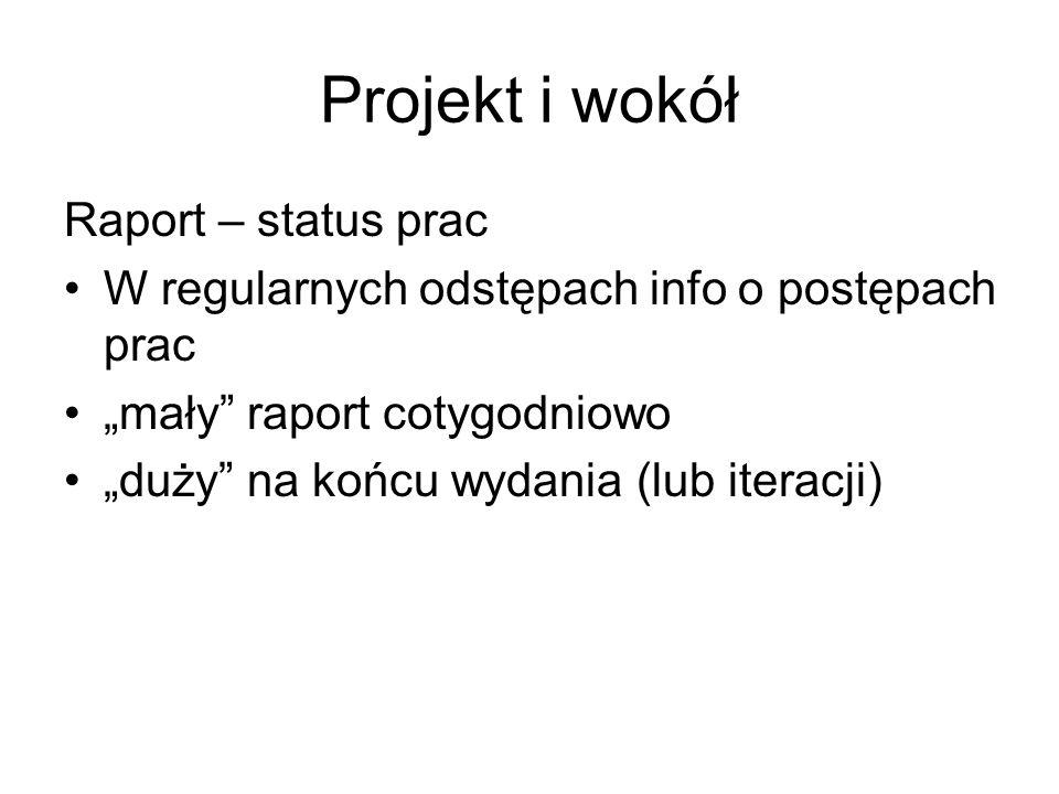 """Projekt i wokół Raport – status prac W regularnych odstępach info o postępach prac """"mały raport cotygodniowo """"duży na końcu wydania (lub iteracji)"""