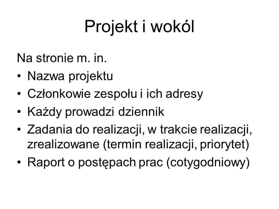 Projekt i wokól Na stronie m. in.