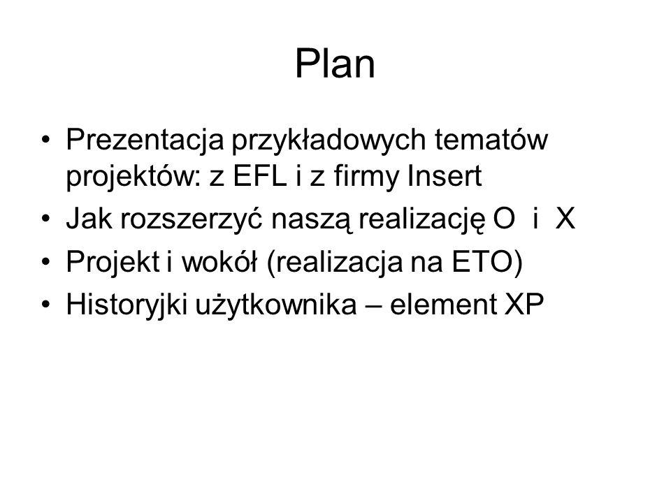 Plan Prezentacja przykładowych tematów projektów: z EFL i z firmy Insert Jak rozszerzyć naszą realizację O i X Projekt i wokół (realizacja na ETO) Historyjki użytkownika – element XP