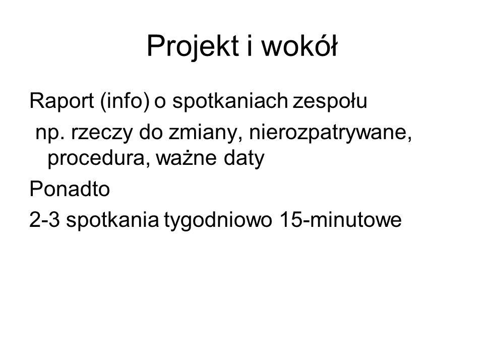 Projekt i wokół Raport (info) o spotkaniach zespołu np.