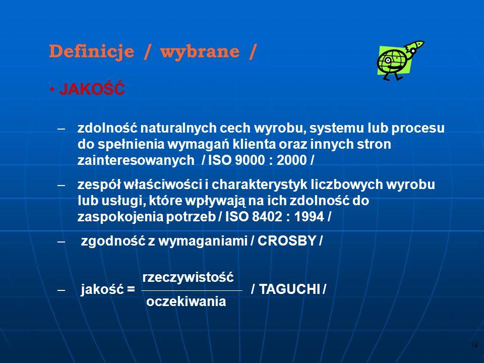 13 Terminy i definicje 87 terminów i definicji w 10 grupach dotyczących: 2.1. Jakości (7) 2.2. Zarządzania (14) 2.3. Organizacji (7) 2.4. Procesów i w