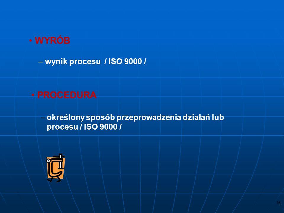 15 SYSTEM ZARZĄDZANIA JAKOŚCIĄ –system do ustanowienia polityki jakości i celów jakościowych oraz osiągnięcia tych celów / ISO 9000 / PROCES –system d