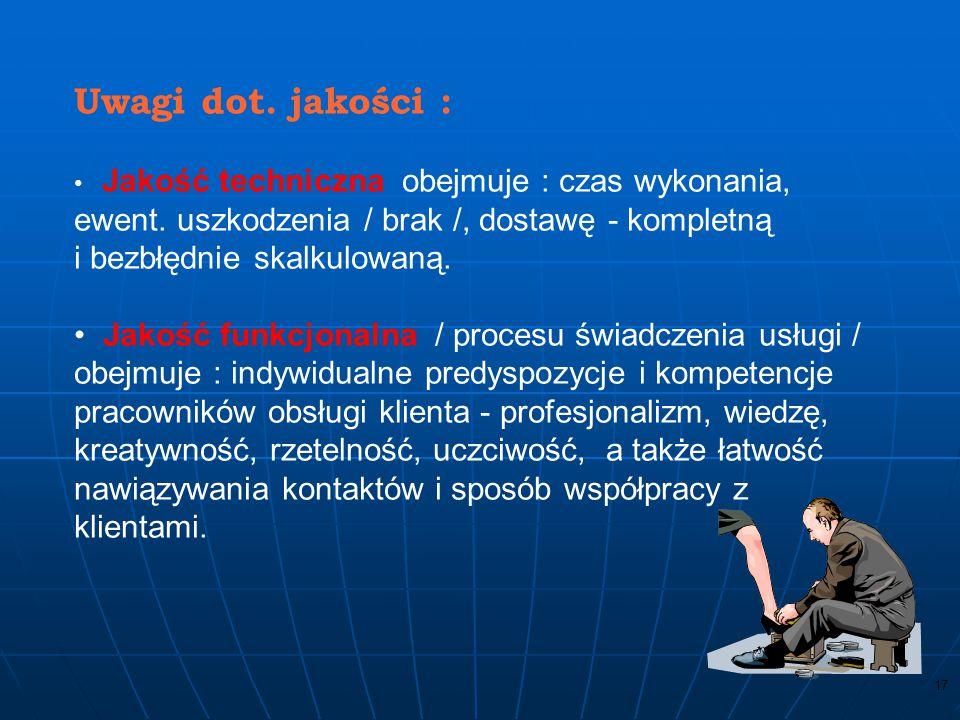 16 WYRÓB – wynik procesu / ISO 9000 / PROCEDURA –określony sposób przeprowadzenia działań lub procesu / ISO 9000 /