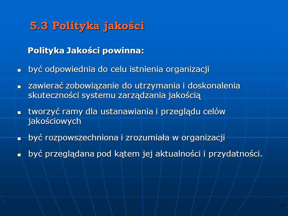 27 Najwyższe kierownictwo powinno demonstrować swoje zaangażowanie poprzez: uświadomienie rangi spełnienia wymagań klienta, pozostałych stron zainteresowanych uświadomienie rangi spełnienia wymagań klienta, pozostałych stron zainteresowanych oraz wymagań prawnych oraz wymagań prawnych ustanowienie polityki jakości ustanowienie polityki jakości i celów jakościowych i celów jakościowych prowadzenie przeglądów zarządzania prowadzenie przeglądów zarządzania dla zapewnienia efektywności dla zapewnienia efektywności i przydatności systemu i przydatności systemu zapewnienie niezbędnych zasobów do osiągania celów.