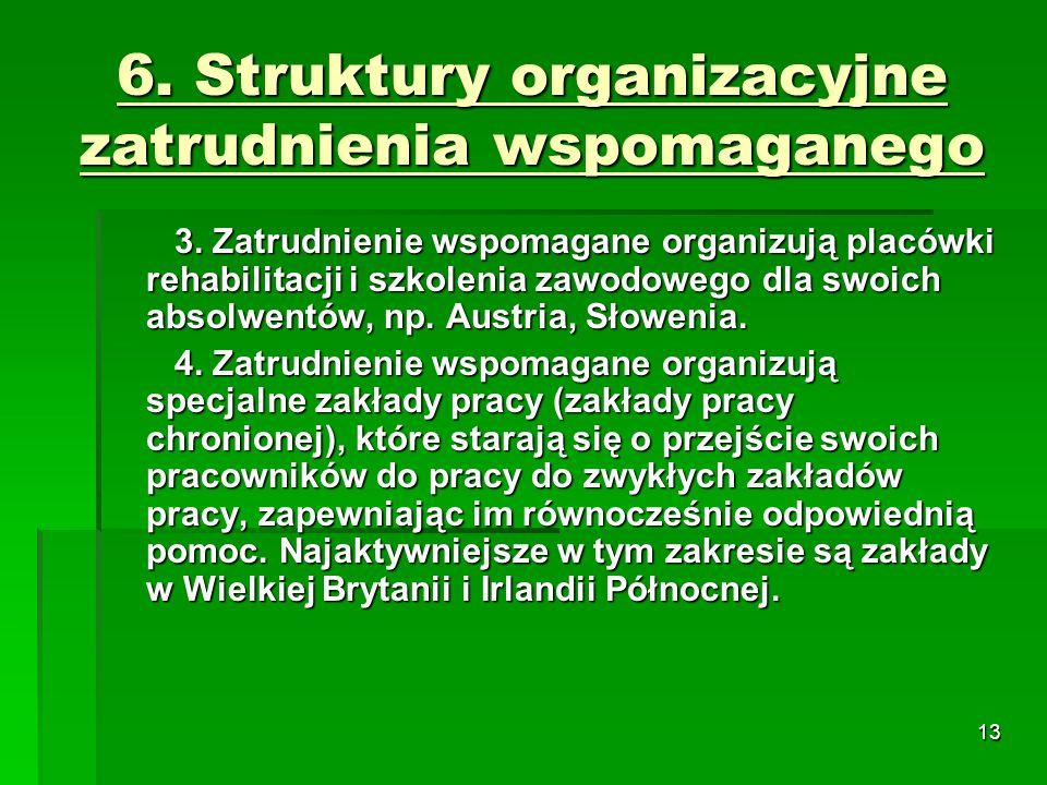 13 6. Struktury organizacyjne zatrudnienia wspomaganego 3.