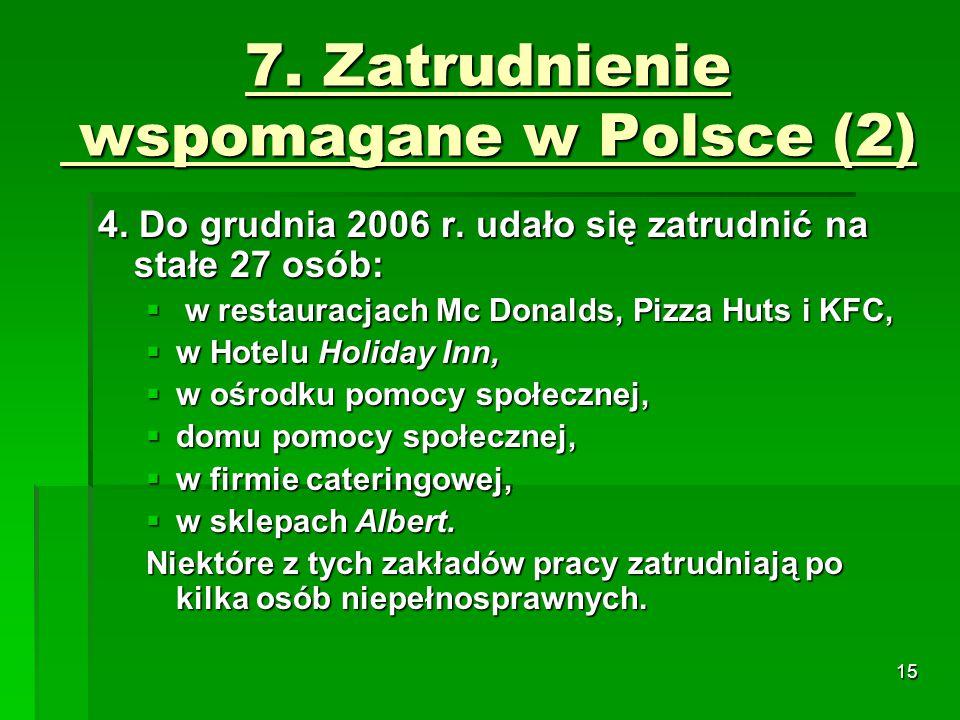 15 7.Zatrudnienie wspomagane w Polsce (2) 4. Do grudnia 2006 r.