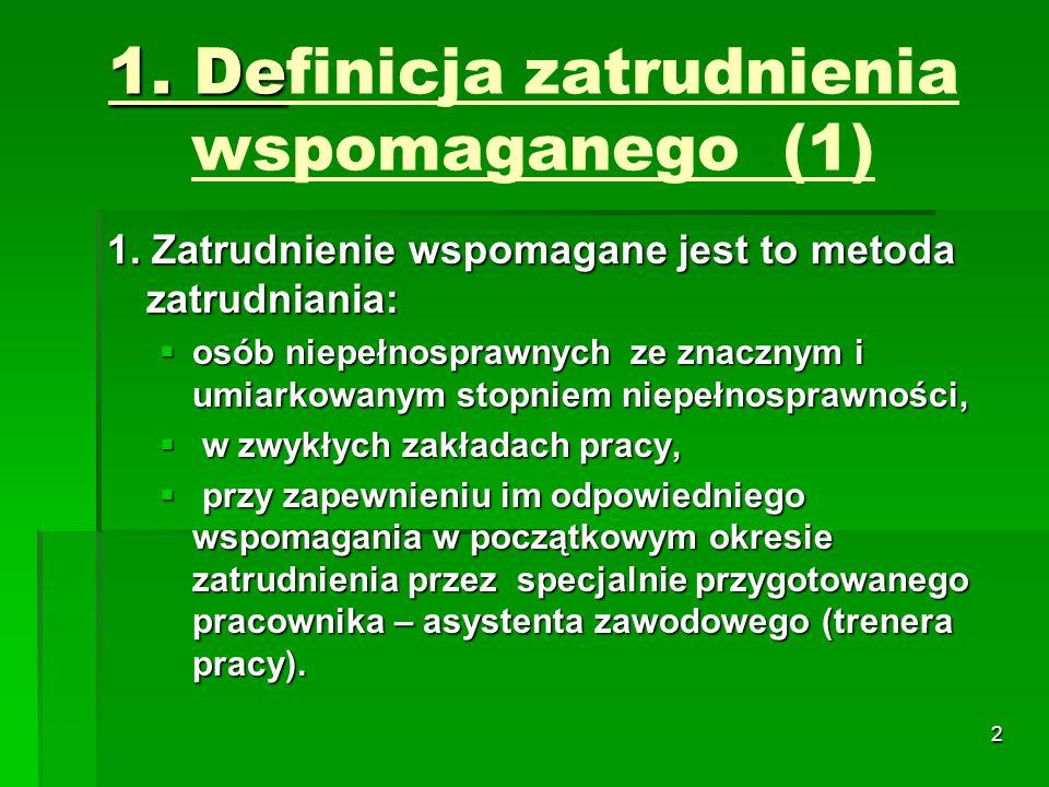 3 1.De 1. Definicja zatrudnienia wspomaganego (2) 2.