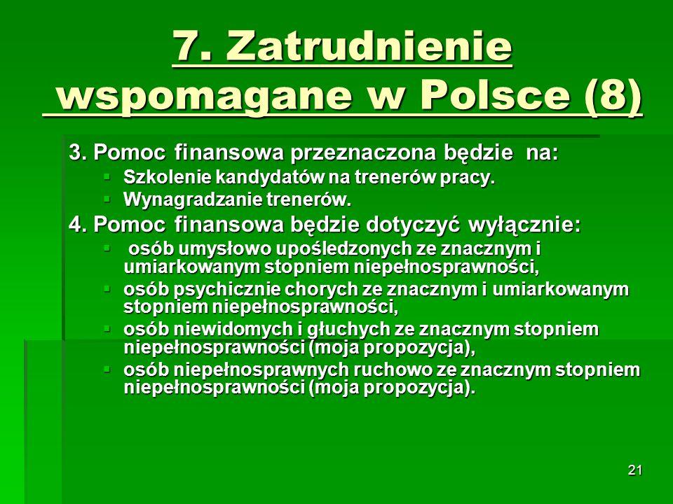 21 7. Zatrudnienie wspomagane w Polsce (8) 3.