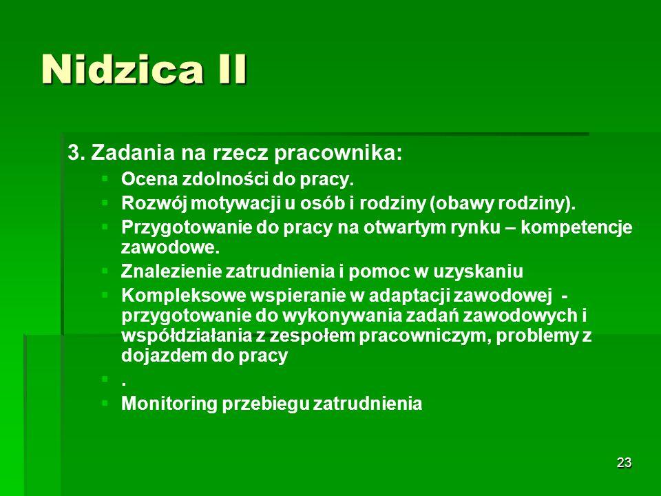 23 Nidzica II 3. Zadania na rzecz pracownika:   Ocena zdolności do pracy.