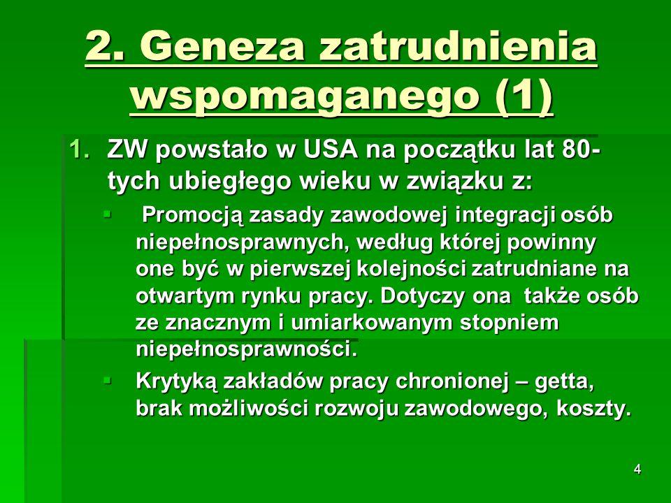 5 2.Geneza zatrudnienia wspomaganego (2) 3. Analiza niskich wskaźników zatrudnienia o.n.