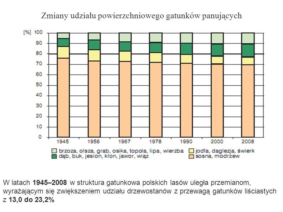 Zmiany udziału powierzchniowego gatunków panujących W latach 1945–2008 w struktura gatunkowa polskich lasów uległa przemianom, wyrażającym się zwiększ