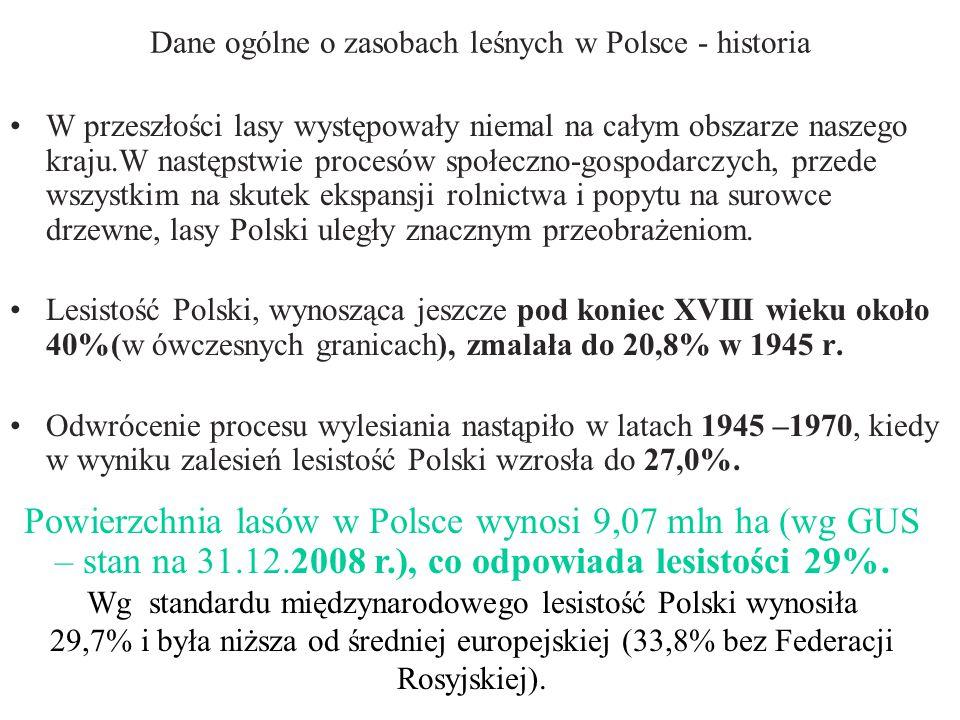 Dane ogólne o zasobach leśnych w Polsce - historia W przeszłości lasy występowały niemal na całym obszarze naszego kraju.W następstwie procesów społeczno-gospodarczych, przede wszystkim na skutek ekspansji rolnictwa i popytu na surowce drzewne, lasy Polski uległy znacznym przeobrażeniom.