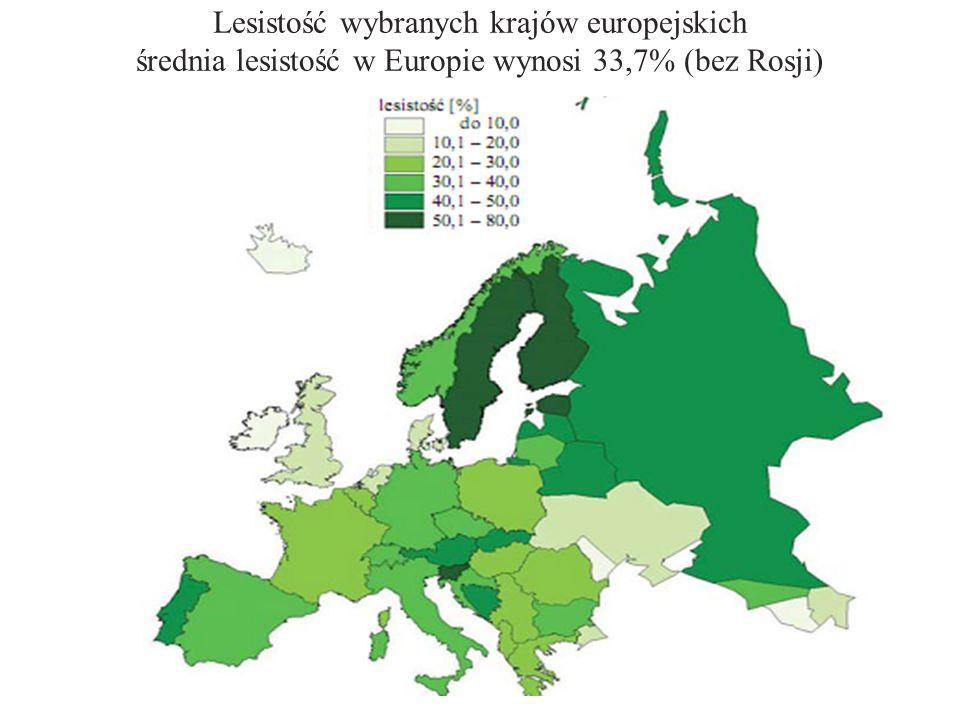 Zmiany udziału powierzchniowego gatunków panujących W latach 1945–2008 w struktura gatunkowa polskich lasów uległa przemianom, wyrażającym się zwiększeniem udziału drzewostanów z przewagą gatunków liściastych z 13,0 do 23,2%